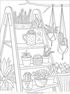 house plants free colouring in page Printable Adult Coloring Pages, Cute Coloring Pages, Free Coloring, Coloring Books, Coloring Sheets, Dover Coloring Pages, Garden Coloring Pages, Colouring In, Coloring Pages For Adults