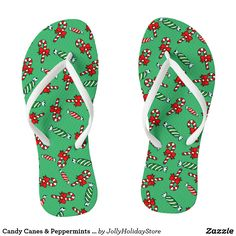 Candy Canes & Peppermints Holiday Flip Flops