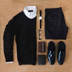 Outfit grid - Black and white style Mode Outfits, Casual Outfits, Men Casual, Fashion Outfits, Smart Casual, Fashion Ideas, Casual Wear, Fasion, Fashion Tips