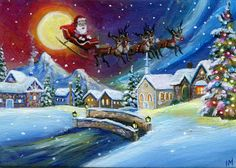 ACEO Original Santa's Sleigh Reindeer Christmas Village Miniature Painting By IM in Paintings | eBay