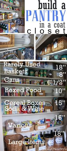 Build a kitchen Pantry in a coat closet + organizing tips.  #pantry