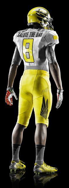 2014 Oregon Spring Football Uniform - Away Team Yellow Strike Design