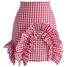 Chicwish Arch of Ruffles Check Bud Skirt in Red (2.150 RUB) ❤ liked on Polyvore featuring skirts, red, ruffle slip skirt, frilly skirt, tartan plaid skirt, slip skirt and red knee length skirt