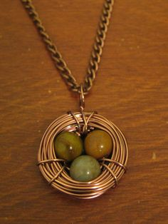 HANDMADE Copper Bird's Nest Necklaces with Earth-tone Eggs ($15)
