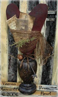 Folk Art Heart Make Do Pin Cushion Old Pictures Primitive Pattern ~