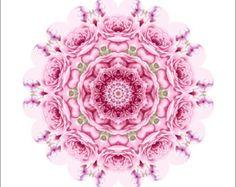 Mandala Art Print  Kaleidoscope Fractal Mandala Flower. 8 x 8 Pink Roses  Abstract Print.  Decorative Peaceful