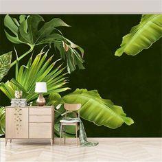 Fresh Tropical Plantain Wallpaper - 64W x 40H inches / Non-woven Paper