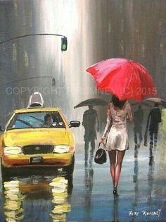 Pretty art painting idea in black, grey, white and a speck Rain Painting, Painting & Drawing, Rain Art, Umbrella Art, Popular Art, Pretty Art, Figurative Art, Lovers Art, Female Art