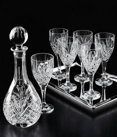Shop for Godinger Dublin Diamond-Cut Crystal Wine Set at Dillard's. Visit Dillard's to find clothing, accessories, shoes, cosmetics & more. The Style of Your Life. Crystal Wine Glasses, Crystal Glassware, Waterford Crystal, Glass Crystal, Carafe, Crystal Illustration, Vase Deco, Wine Goblets, Cut Glass