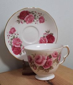 Queen Anne Tea Cup and Saucer Bone Chine Made in England Pink and Red Roses Gold Trim 8679 vintage dishes. For Sale by DanushasCollectibles vintage Etsy shop.