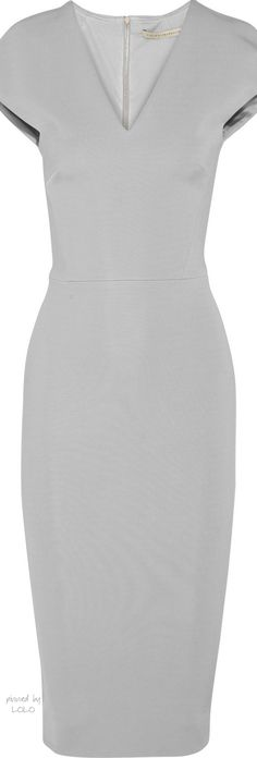 Victoria Beckham - grey stretch satin crepe dress - The House of Beccaria Short Dresses, Dresses For Work, Business Outfit, Crepe Dress, Work Attire, Work Fashion, Gray Dress, Dress Me Up, Pretty Dresses
