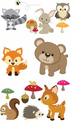 Items similar to Woodland Animals Removable Repositionable Fabric Wall Decal Stickers 15 Piece Set on Etsy Woodland Nursery Decor, Woodland Baby, Woodland Theme, Woodland Forest, Fox Party, Deer Baby Showers, Baby Deer, Woodland Creatures, Baby Kind