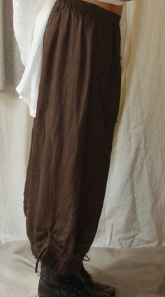 Free Sewing pattern  - Tina Givens. Plinka Pants are super loose fitting with dropped crotch, elastic waist, tab/or on seam pockets, irregular, ruffled & gathered ankles