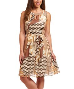 Another great find on #zulily! Taupe & Brown Geometric Cutout Dress #zulilyfinds