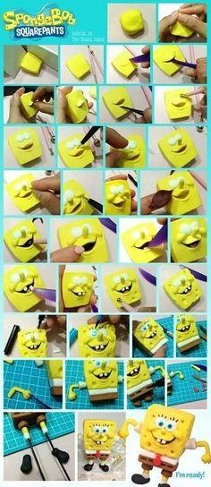 Spongebob Fondant Tutorial (but could be translated into clay! Cake Topper Tutorial, Fondant Tutorial, Cake Decorating Tutorials, Cookie Decorating, Fimo Disney, Decors Pate A Sucre, Fondant Animals, Fondant Toppers, Cupcake Toppers