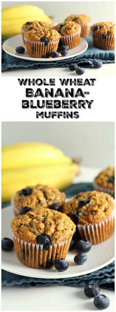 Easy Whole Wheat Banana Blueberry Muffins recipe : from RecipeGirl.com