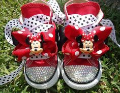 MINNIE MOUSE inspired bling converse  Sizes 213 by BrynnandBriella, $69.99 @Ashlee Garriton Bracken...future children must wear to disney..omgggg Nick said I gasped like someone died when I saw these haha