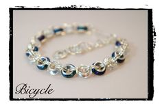 Chainmaille bracelet BICYCLE with Czech glass by AnneFleurJewelry, $23.00