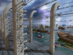 Capsized rowboats near a barbed-wire-protected quay. 2016, giclée print, watermarked preview. #refugeecrisis #boats #fence #barbedwire #electricalhazard #lifebelts #isolators #quay #concrete #pillars #tally #checklist #lightning #shore #sea #water #sky #clouds #thunderandlightning #tragedy #misery #capsized #horizon #catastrophe #rowboats #sociocritical