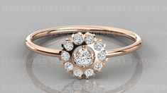 Diamond Ring / 14k Gold Floral Diamond Ring / Floral Cluster Diamond Ring / Minimalist Diamond Flower / Cluster Diamond Ring by UmbrellaJewels on Etsy Diamond Flower, Diamond Cluster Ring, Halo Diamond, Round Cut Diamond, Round Diamonds, Diamond Rings, Wedding Rings Vintage, Vintage Rings, Vintage Style