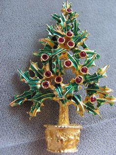 Vintage Signed Mylu Christmas Tree Pin Brooch Rhinestones Gold Tone | eBay