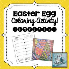 Easter Egg Coloring Activity Template - Personal Use Only!