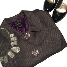 Lane Bryant Jacket Lane Bryant Jacket. Gray jacket with light shoulder pads and a beautiful purple lining, great for work Lane Bryant Jackets & Coats