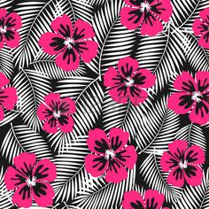 Seamless repeat pattern with pink hibiscus flowers and white palm leaves on black background. photo