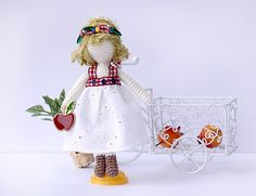 Crocheted amigurumi doll/ Doll in white lace dress/Art doll/ Collectable doll/ handmade crochet doll/ gift for girl/Dolls lovers/Home decor by Creativhook on Etsy