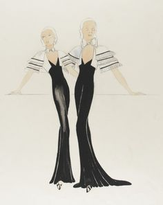 Costume Sketch of Mary Brian as Ruth Waters and Ruth Donnelly as Lil Waters in the Warner Brothers Production, 'Hard to Handle' | LACMA Collections