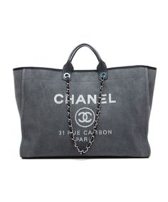 Chanel Pre-Owned Chanel Grey Canvas Deauville XL Tote Bag | BLUEFLY up to 70% off designer brands