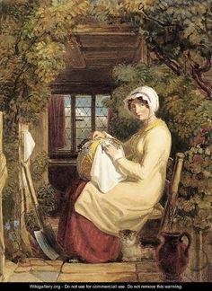Con nuestras manos: Encajeras en el arte A woman seated in a doorway making lace with a cat at her feet Autor: Thomas Uwins