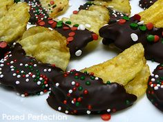 Posed Perfection: Chocolate Dipped Chips ~ Delicious and Easy treat for those Christmas parties!