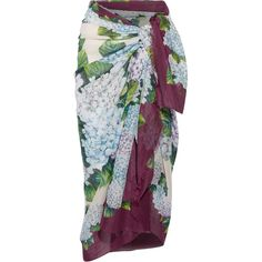 Dolce & Gabbana Floral-print cotton-gauze pareo (€330) ❤ liked on Polyvore featuring skirts, swimwear, forest green, rose skirt, dolce gabbana skirt, multi colored skirt, floral print skirt and floral knee length skirt