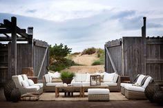 Outdoor furniture in a rustic setting