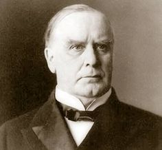 William McKinley, Jr., born in 1843 in Niles, Ohio, was admitted to the bar in 1867, and opened a law office in Canton.  Because his wife, Ida Saxon was in poor health he carried on his campaigns from the front porch of his home to be close to her. He was elected as the 25th president in 1896. In June 1901 he was shot by Leon Czolgosz, and died in September of gangrene from the shot. He, his wife and two children are buried in the McKinley National Memorial at West Lawn Cemetery in Canton…