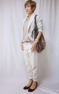ベージュとブラウンのグラデコーディネート。 落ち着いた印象になりました。  Cardigan/GAP Tops/UNIQLO Bottoms/GAP Bag/CLARAMONTE Shoes/menu'e  Today is the coordination of beige tone.