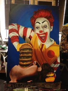 Painting of the decade! An awesome rendition of him as Ronald McDonald