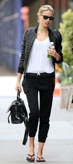 Leather bomber jacket and white tee and black sweatpants