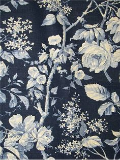 "RL Brandy Linen Floral Porcelain - Genuine Ralph Lauren Fabric - Up the roll traditional floral pattern. Content; Heavy 55% LINEN 45% RAYON. Repeat; H 13.5"" x V 16"". 54"" wide. Made in U.S.A. LLF65348F"