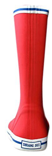 Ace Womens Girls Cute Waterproof Pullon Work Fashion Rain Boot 6 red * Check out the image by visiting the link.
