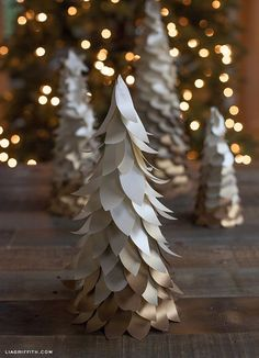 DIY Gold Ombre Trees