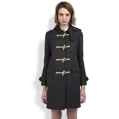Saint Laurent Wool Toggle Coat - Yves Saint Laurent - Polyvore