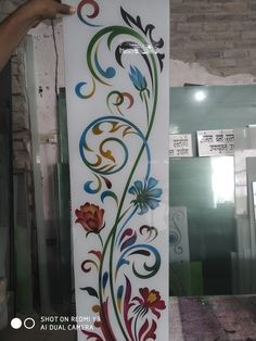 Floral Wall Stencil, Etched Glass Door, Jaali Design, Glass Painting Designs, Bathroom Window Glass, Glass Etching Designs, Wall Design, Interior Wall Design, Window Glass Design