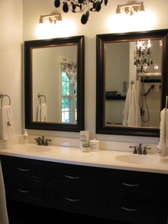 Are you searching for bathroom mirror ideas and inspiration? Easy bathroom updates, Framed bathroom mirrors and Framing a mirror. 2 Mirrors In Bathroom, Vanity Bathroom, Floor Mirrors, Bathroom Artwork, Vanity Mirrors, Shiplap Bathroom, Bathroom Black, Vanity Decor, Master Bathrooms