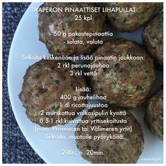 Pinaattilihapullat Baby Led Weaning, I Love Food, Baby Food Recipes, Finger Foods, Kids Meals, Nom Nom, Goodies, Food And Drink, Menu