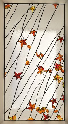 Fallen leaves laylight for a San Francisco kitchen by Theodore Ellison, Oakland, CA Stained Glass Designs, Stained Glass Panels, Stained Glass Projects, Stained Glass Patterns, Leaded Glass, Stained Glass Art, Mosaic Glass, Leadlight Windows, Autumn Leaves