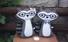 Ralph & Lory Raccoon Soft Plushie Toys by TulipDesignsShop on Etsy