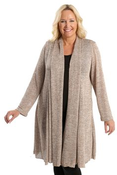 Vikki Vi Wheat Swing Sweater Duster A great plus size piece for your holiday party.