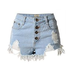 e832ac21fa Lingswallow Womens Vintage Ripped Hole Button Up High Waist Denim Shorts  Blue *** You